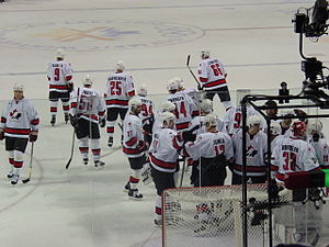 Ice hockey at the 2002 Winter Olympics - The Men's Canadian Hockey Team after a game against the Czech Republic at the 2002 Winter Olympics