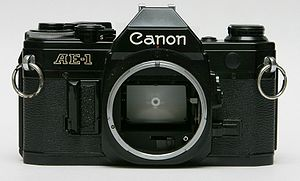 Black Canon AE-1 (1976) SLR camera from the front