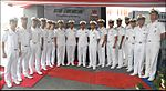 Captain C.R. Praveen Nair and other officers of INS Chennai during dedication ceremony.jpg