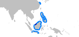 Present (dark blue) and possible historical (light blue) range of the Borneo shark[1][2]