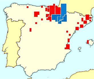 Navarrese electoral Carlism during the Restoration - Carlist deputies. Navarre in blue