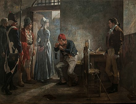 Charlotte Corday being conducted to her execution, by Arturo Michelena (1889); the warden carries the red blouse worn by Corday and the painter Hauer stands at the right. Carlota Corday 1889 by Arturo Michelena.jpg