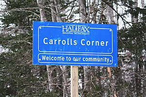Carroll's Corner, Nova Scotia - Entering the community