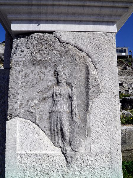 File:Carving on the pilaster at the entrance from the west parodos to the orchestra, Ancient Theatre, built by Philip II in the 4th century BC and later reconstructed by the Romans, Philippi (7272280914).jpg