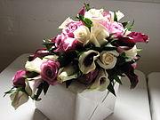 An example of a cascading flower bouquet.  The flowers cascade downward.