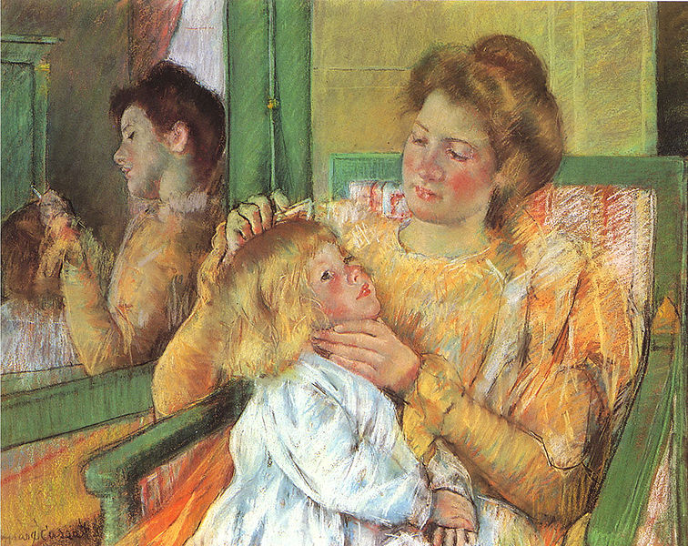 Konstantin Makovsky - Page 3 756px-Cassatt_Mary_Mother_Combing_Child%27s_Hair_1879