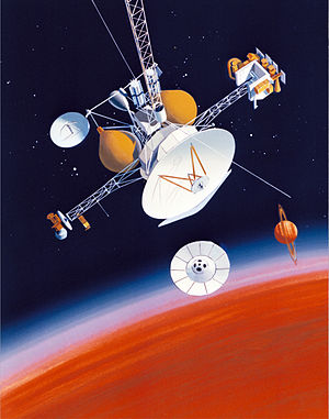 Mariner Mark II - SOTP a Mariner Mark II spacecraft concept, drawing from 1988. Later redesigned to the Cassini–Huygens spacecraft