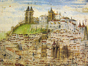 São Jorge Castle - A 16th-century illuminated manuscript of Lisbon, in the Crónica de D. Afonso Henriques by Duarte Galvao, depicting the castle and walls, including the Royal Palace (Alcáçova) (1505)