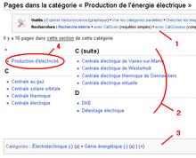 Capture d'écran d'une catégorie et des pages appartenant à cette catégorie