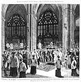 Catedral de Toledo, acto de dar sepultura a los restos mortales del cardenal Moreno, el 2 de septiembre de 1884, de Manuel Nao, en La Ilustración española y Americana, 15 de septiembre de 1884.jpg