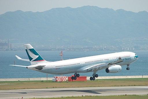 Cathay Pacific Airbus A330-343X (B-HLOA) take off at Kansai IA