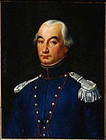 Painting depicts a somber, round-eyed man in a blue military uniform with silver epaulettes.