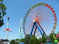 Cedar Point WindSeeker, Wicked Twister, and Giant Wheel (9547637121).jpg