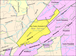 Census Bureau map of Green Brook Township, New Jersey.