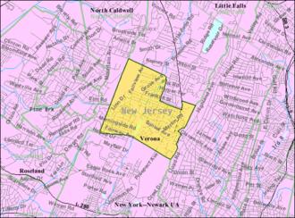Verona, New Jersey - Image: Census Bureau map of Verona, New Jersey