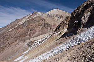 Chachani - The summit (on the left) and the path leading to it in October 2007