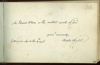 Sir Charles Asgill, 2nd Baronet - Image: Charles Asgill autograph book 1778