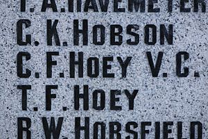 Charles Ferguson Hoey - Charles Ferguson Hoey, VC as inscribed on the cenotaph in the Charles F. Hoey VC Memorial Park in downtown Duncan, BC