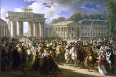Napoleon zieht am 27. Oktober 1806 an der Spitze seiner Truppen in Berlin ein (Historiengemälde von Charles Meynier, 1810) (Quelle: Wikimedia)