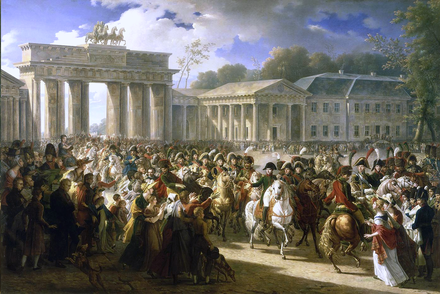 Napoleon in Berlin (Meynier). After defeating Prussian forces at Jena, the French Army entered Berlin on 27 October 1806 Charles Meynier - Napoleon in Berlin.png