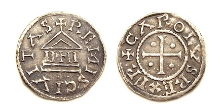 Denier (type Temple and cross) of Charles the Bald, minted at Reims between 840-864 (pre-Edict of Pistres). Charles the Bald denier struck Reims.jpg