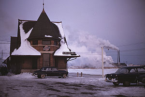 C&NW railway station in Escanaba, Michigan - 1953.