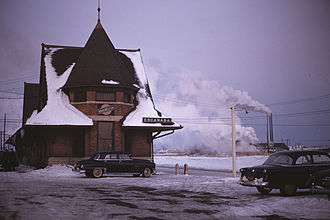 Escanaba, Michigan - C&NW railway station in Escanaba, Michigan, 1953
