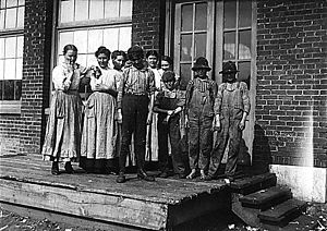 Sylacauga, Alabama - Child workers at Central Mills in Sylacauga, 1910. Photo by Lewis Hine.