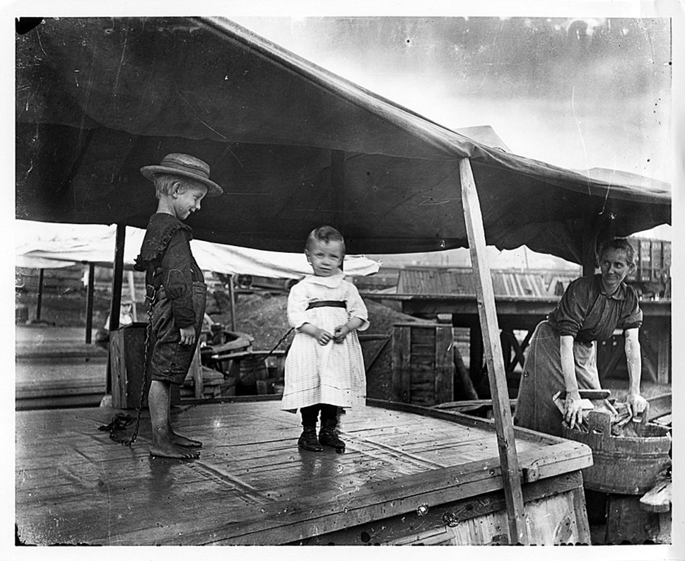Children on C and O Canal Boat in Cumberland