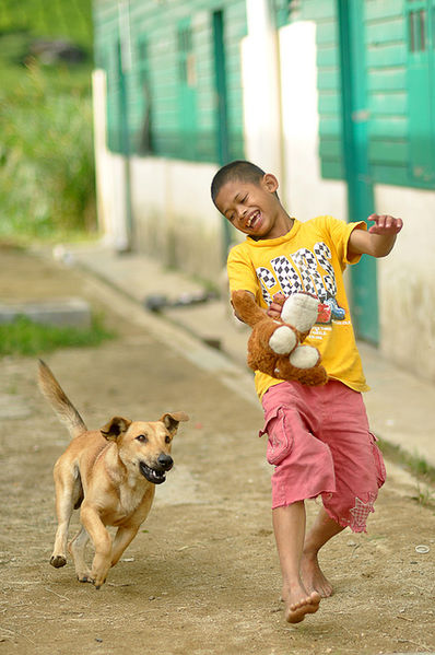 File:Children playing with a dog.jpg