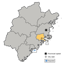 Location of Putian City jurisdiction in Fujian