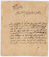 Handschriftlicher Brief Wolffs (1744) (Quelle: Wikimedia)