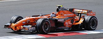 Spyker F8-VII - Christijan Albers driving the F8-VII at the 2007 British Grand Prix.