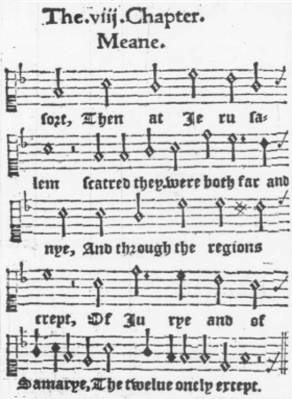 While Shepherds Watched Their Flocks - Image: Christopher Tye Actes of the Apostles 1553, chaper VIII Meane