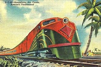City of Miami (train) - Postcard depiction of the train, circa 1940s.