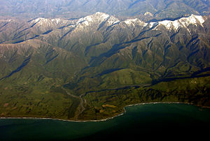 Clarence River (New Zealand) - A view over the river mouth near Kaikoura