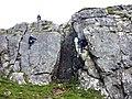 Climbing on Barrel Buttress, Attermire Scar - geograph.org.uk - 2085038.jpg