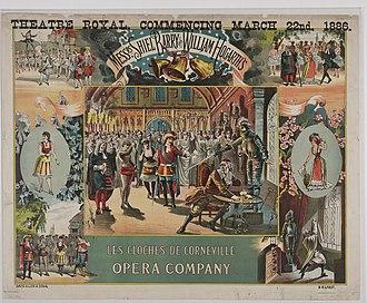 Les cloches de Corneville - Poster for a performance of Les Cloches des Corneville at Theatre Royal, Edinburgh in 1886