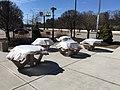 Closed picnic area Natick Turnpike rest area on I-90 during the 2020 coronavirus pandemic in Massachusetts.jpg