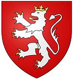 A red shield with a white lion rampant