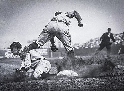 Conlon's most famous picture: Ty Cobb stealing third, sliding into Jimmy Austin
