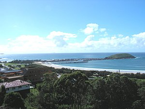 Coffs Harbour - Coffs Harbour jetty and harbour, including Muttonbird Island, looking north.