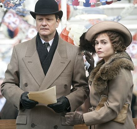 Bonham Carter and Colin Firth in the 2010 film The King's Speech Colin Firth and Helena Bonham Carter filming (cropped).jpg