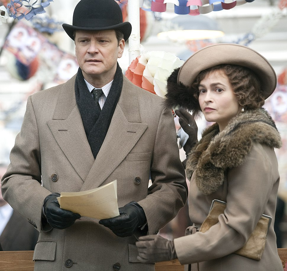 Colin Firth and Helena Bonham Carter filming (cropped)