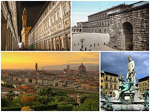 Florence - A collage of Florence showing the Galleria degli Uffizi (top left), followed by the Palazzo Pitti, a sunset view of the city and the Fountain of Neptune in the Piazza della Signoria.