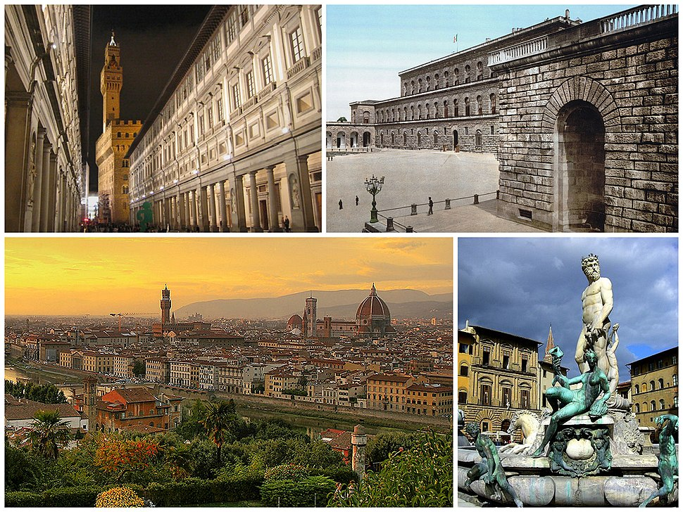 A collage of Florence showing the Galleria degli Uffizi (top left), followed by the Palazzo Pitti, a sunset view of the city and the Fountain of Neptune in the Piazza della Signoria.