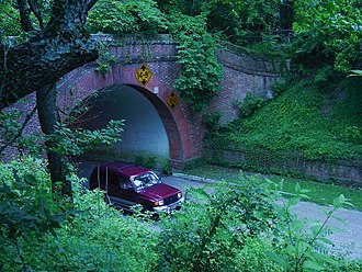 Colonial Williamsburg - Entrance to the tunnel of the Colonial Parkway, which runs beneath the Historic Area linking it with Jamestown and Yorktown