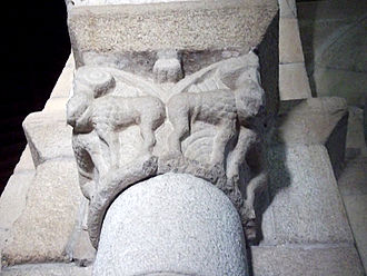 Rates Ecomuseum - Capital with beasts in the Romanesque church.