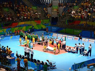 Volleyball at the Summer Paralympics - Brazil versus Egypt men's match at the 2016 Summer Paralympics in Rio