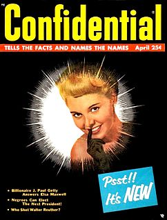 <i>Confidential</i> (magazine) pioneering gossip magazine founded by Robert Harrison in 1952